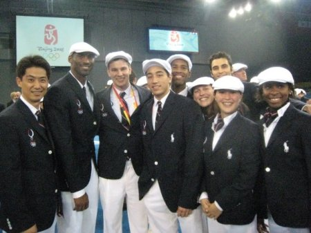 US Olympic Fencing team with Kobe Bryant before Opening Ceremonies. I wonder if he has these kind of problems? Doubtful
