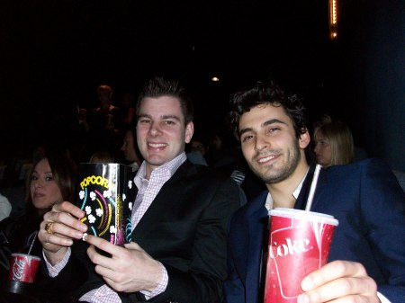 Jason and I at the Movie Screen while Rosanno Scotto ducks in the left hand corner!