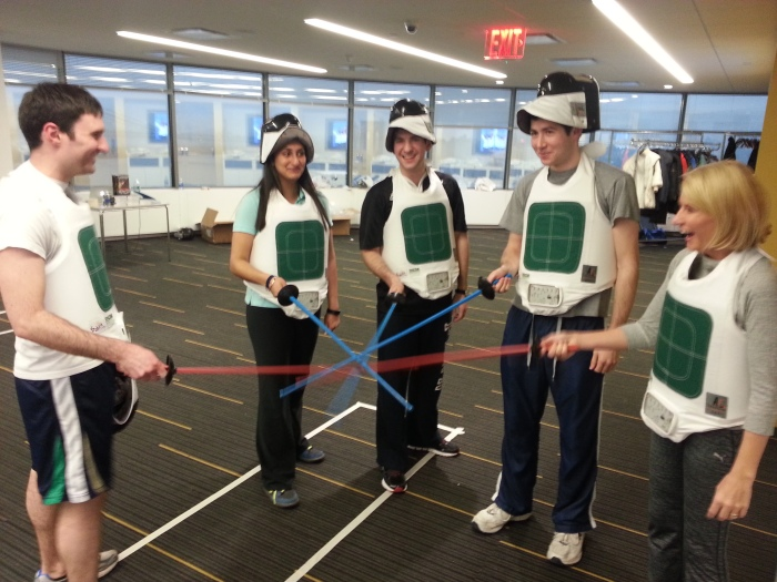 Fencing comes to the offices of AIG! Yes, You Can Fence anywhere!